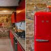 Küche mit Kühlschrank Smeg im Ferienhaus Cascina delle Langhe