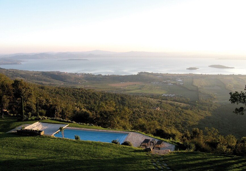 Breathtaking view over the Trasimeno Lake in Umbria from Casa Bramasole